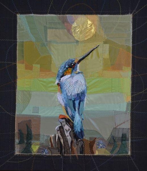 Eisvogel, Textilcollage, 75x65cm