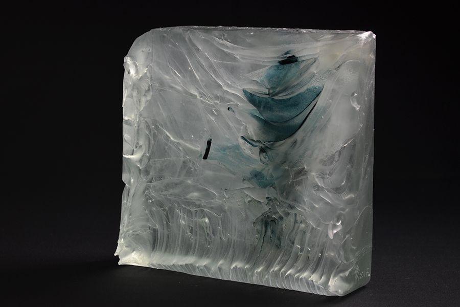 Wasserblock Blau, Glasguss u. Kupfer