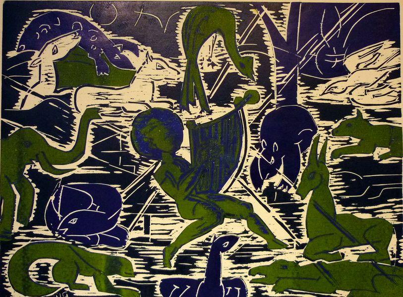Orpheus und die Tiere, Holzschnitt 2 Platten, 45x60cm