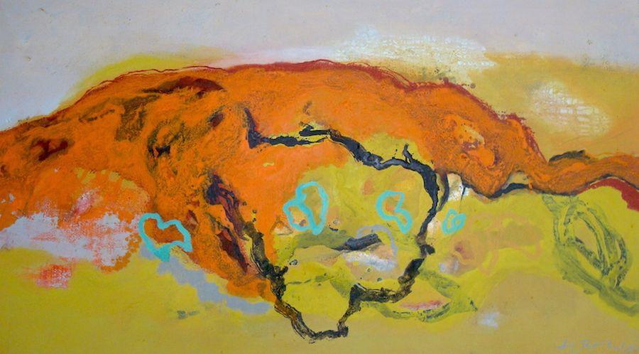 Orange hill, Mischtechnik a. LW, 160x80cm